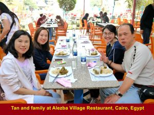 Tan and family at Alezba Village Restaurant, Cairo