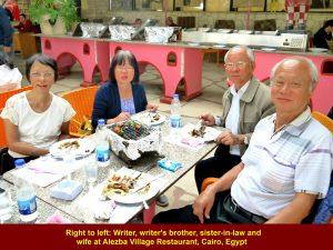 Lim family enjoying Egyptian buffet lunch at Alezba Village Restaurant, Cairo