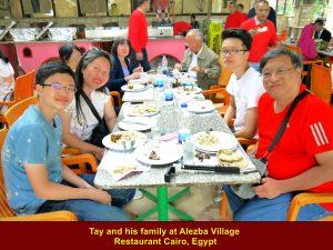 Tay and family at Alezba Village Restaurant, Cairo
