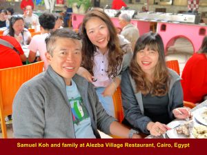 Samuel Koh and family at Alezba Village Restaurant, Cairo