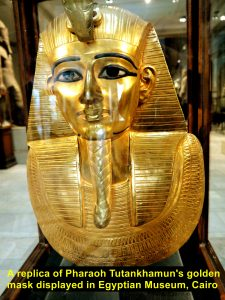 A replica of Pharaoh Tutankhamun's golden mask