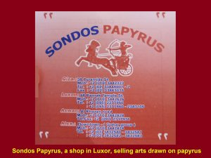 Sondos Papyrus, a shop in Luxor, selling arts on papyrus papers