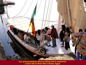Tour group boarded a felucca to experience the ride