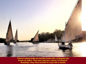 Feluccas sailing on River Nile, Aswan