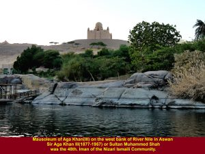 Mausoleum of Aga Khan as seen from a motor-boat on River Nile