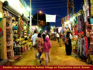 A brightly-lit business street in the Nubian village