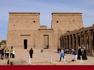 Pylon or facade of Philae Temple of Temple of Isis on Agilkia Island, Aswan