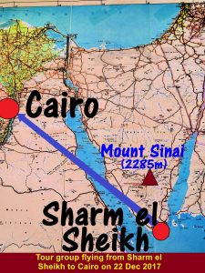 Map showing tour group's flight from Sharm el Sheik to Cairo on 22 Dec 2017