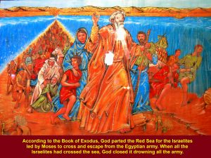 Moses leading Israelites crossed the Red Sea parted by God to escape from the ancient Egyptian army, according to the Book of Exodus.