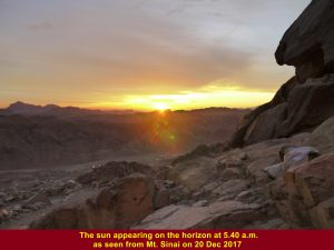 The sun appearing on the horizon at 5.40 a.m. on 20 Dec 2017 as seen from the rest shelter on Mt. Sinai