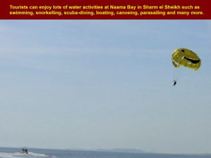 Parasailing is one of the tourist activities at Naama Bay, Sharm el Sheikh