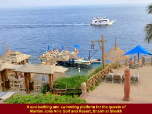 Sunbathing and swimming at Maritim Jolie Ville Golf & Resort, Sharm el Sheikh, Egypt
