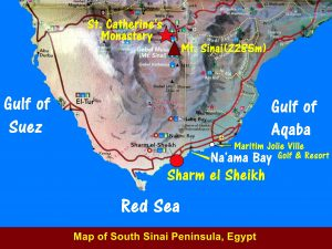 Map showing the location of Mount Sinai near St. Catherine in south Sinai Peninsula, Egypt