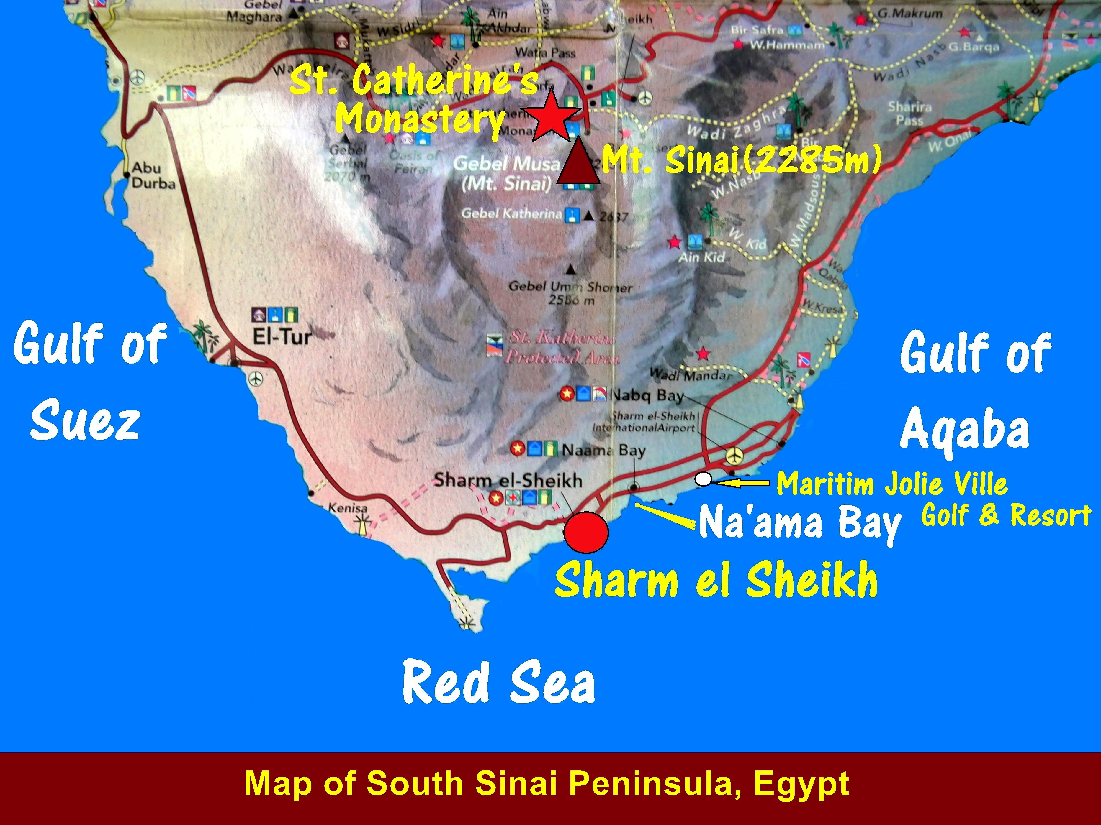 Egypt travel part ix mount sinai st catherines monastery and map showing the southern part of sinai peninsula egypt gumiabroncs Choice Image