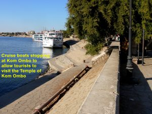 Cruise boats stopping at Kom Ombo for tourists to visit Kom Ombo Temple