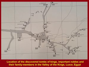 Diagram showing the location of tombs in the Valley of the Kings