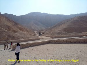 Paths leading to tombs in the Valley of the Kings