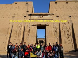 Tour group visiting the Temple of Horus, Edfu, Egypt