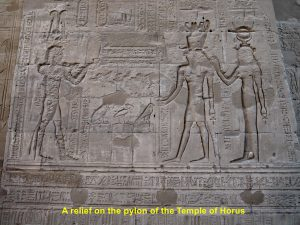 A relief on the back of the pylon of the Temple of Horus, Edfu