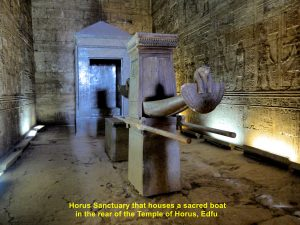 Horus Sanctuary houses a sacred boat in the rear of the Temple of Horus