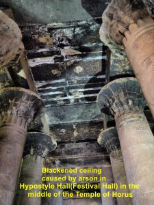 Blackened ceiling in the Hypostyle Hall in the middle of Temple of Horus caused by arson