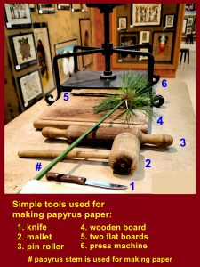 Simple tools used for making papyrus paper