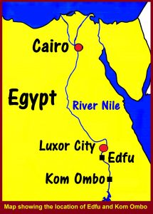 Map showing the location of Edfu and Kom Ombo