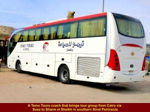 Coach that brings tour group from Cairo to Sinai Peninsula, Egypt