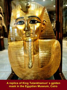 A replica of King Tutankhamun's golden mask in the Egyptian Museum, Cairo