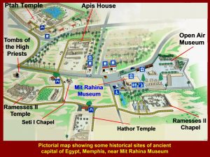 Pictorial map showing historical sites around Mit Rahina Museum
