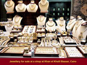 Jewellery for sale at Khan el Khalil Bazaar, Cairo