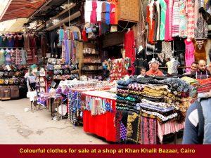 Colourful clothes for sale at Khan el Khalil Bazaar, Cairo