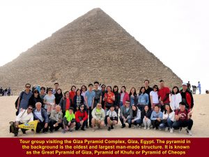 Tour group visiting Giza Pyramid Complex in Egypt on 23 Dec 2017