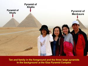 Tan and family at the Giza Pyramid Complex on 23 Dec 2017