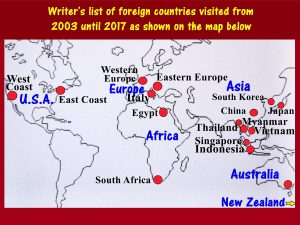Writer's list of foreign countries visited from 2003 until 2017