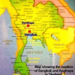 Map showing the location of Bangkok and Ayuthya in Thailand