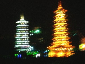 Twin pagodas by Bayan Lake at night, Quilin City