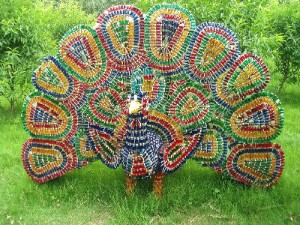 A colourful peacock made from small medicine bottles in Yushan Garden