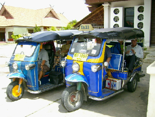 """Tuk-Tuks""- A cheap popular mode of transport in Chiang Mai streets"