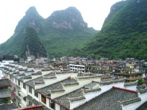 Yangshuo City is surrounded by limestone hills