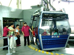 Boarding a cable-car of Skyrail at Tung Chung Skyrail Station