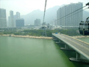 Tung Chung Bay in the foregound and Tung Chung Town in the background