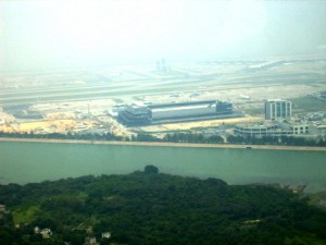 Hong Kong International Airport in the distance