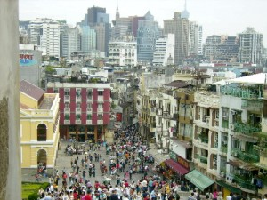 Panoramic view of the Macau Historic Centre from the Ruins of St. Paul's