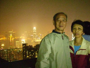 The writer and his wife on the Peak Tower Rooftop
