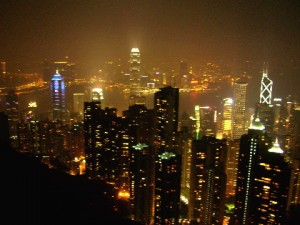 Hong Kong City seen from the Peak Tower rooftop