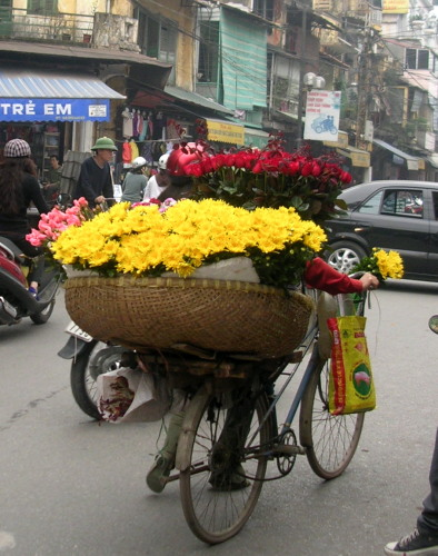 A basketful of fresh flowers