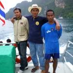 Three of the writer's boat crewmen