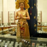 A pretty jewellery salesgirl