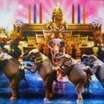 "A ""Fantasy of a Kingdom"" scene involving elephants"
